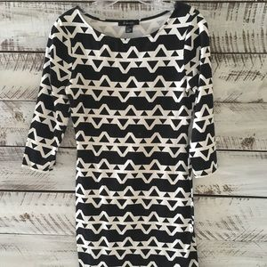 Black and White Patterned Form Fitting Dress